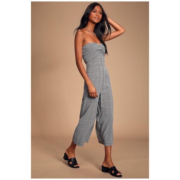 Lulu's Pants - NWT Lulus Black Gingham Twist-Front Jumpsuit